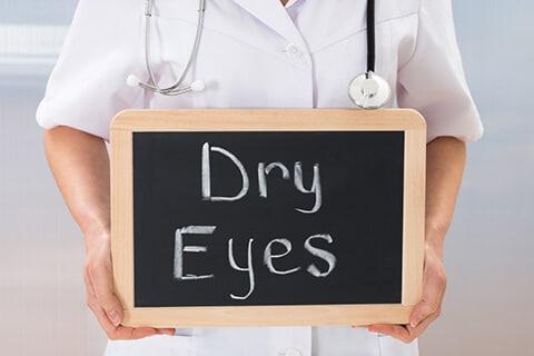 Dry Eyes written on chalkboard