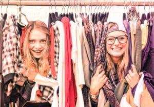 Two women at flea market