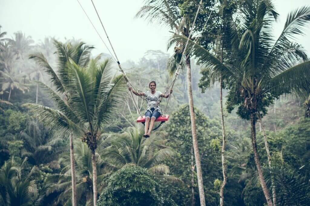 woman in tree canopy